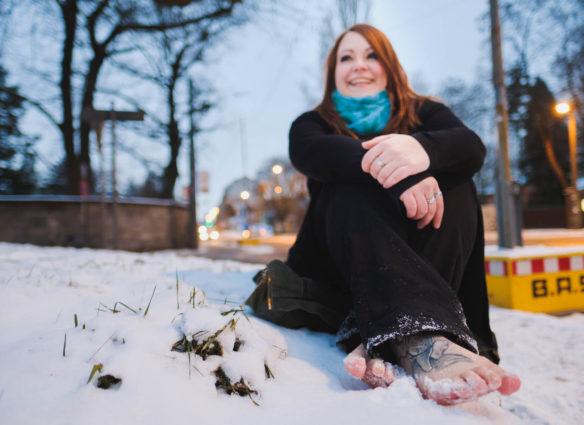 barfuss im Schnee Fotoshooting