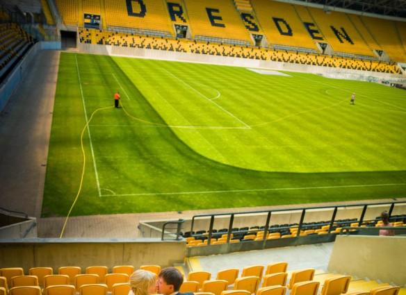 Hochzeitsfotografie Dresden im Dynamo Stadion